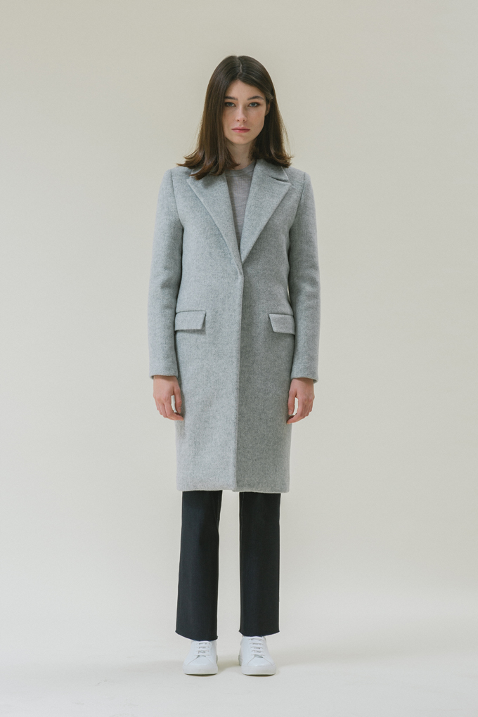 SINGLE BREASTED COAT - GREY