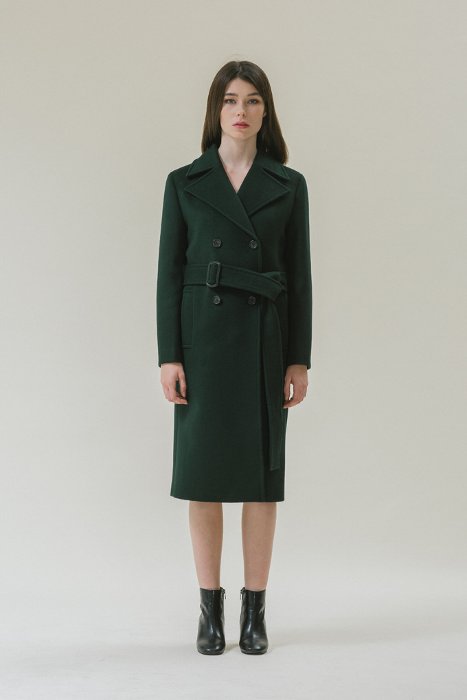 DOUBLE BREASTED COAT - DARK GREEN