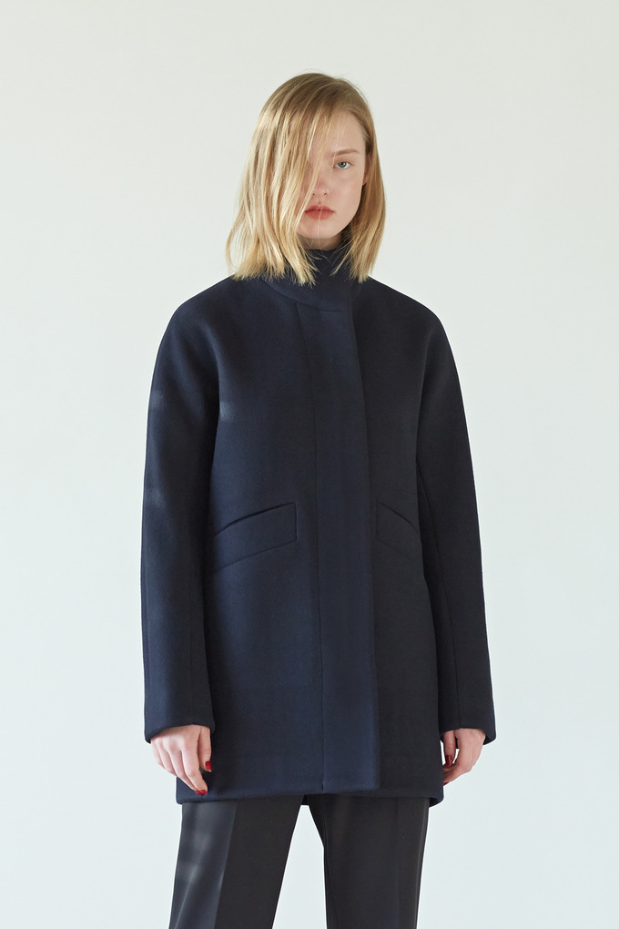 ZIP UP HALF COAT - NAVY