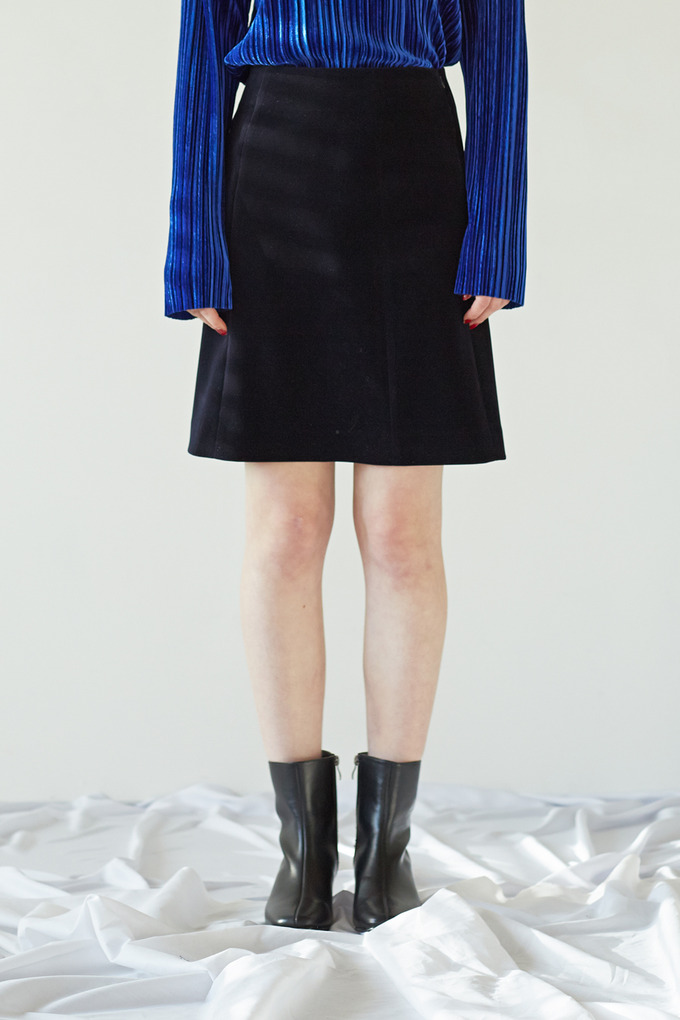 CORDUROY SIMPLE SKIRT - NAVY