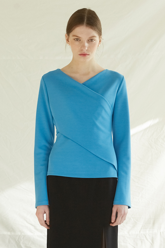 V NECK WRAP TOP - BLUE