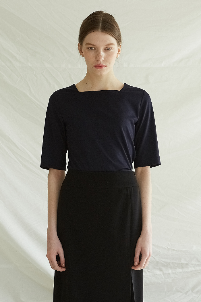 SQUARE NECK TOP -  NAVY