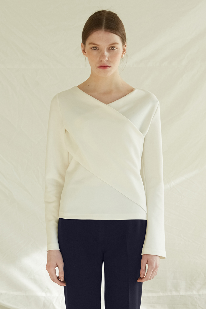 V NECK WRAP TOP - IVORY