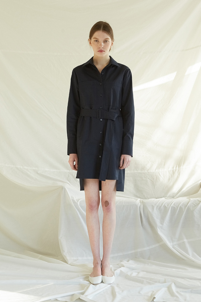 BELTED SHIRT DRESS - NAVY