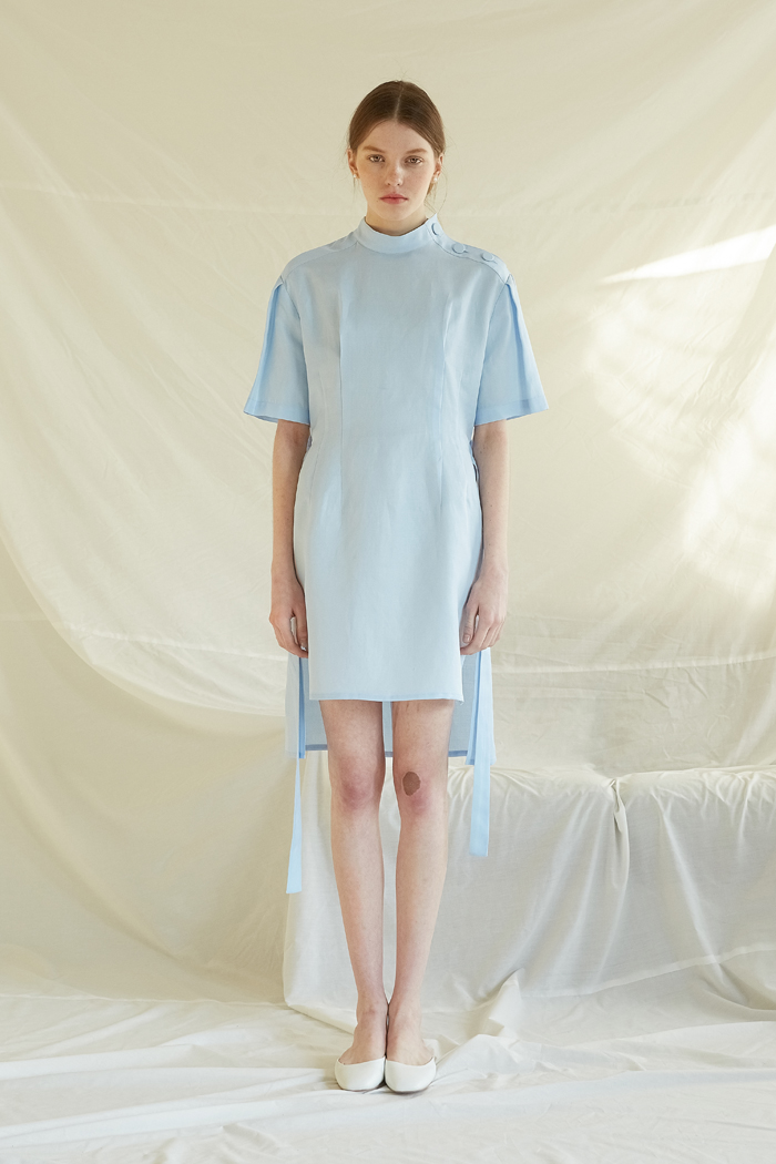 LINNEN BUTTON DRESS - SKY BLUE
