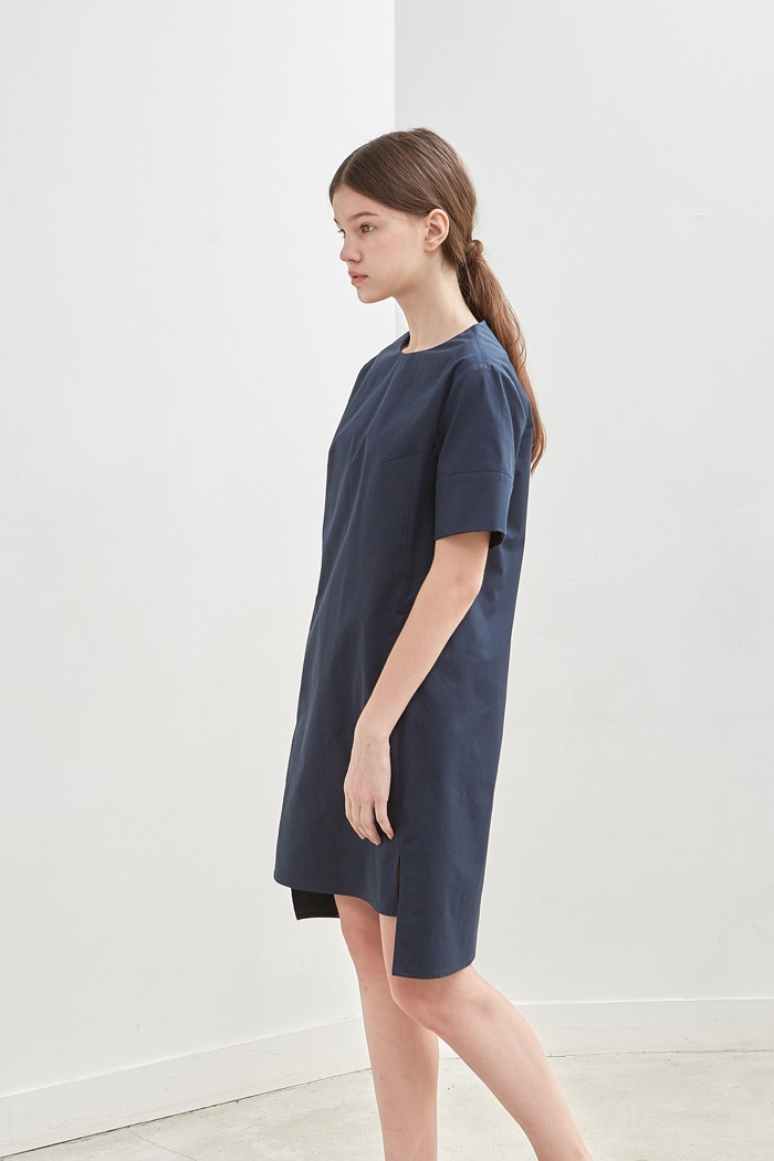 SLIT COTTON DRESS - NAVY