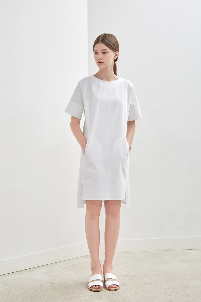 SLIT COTTON DRESS - WHITE