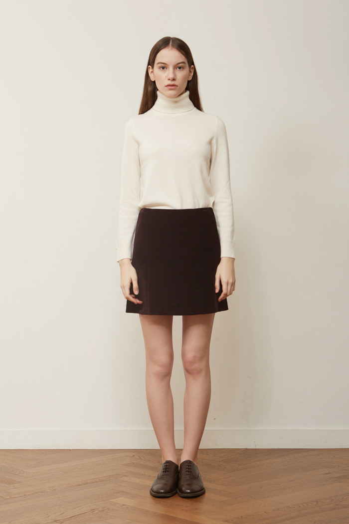 VELVET CORDUROY MINI SKIRT -  DARK WINE