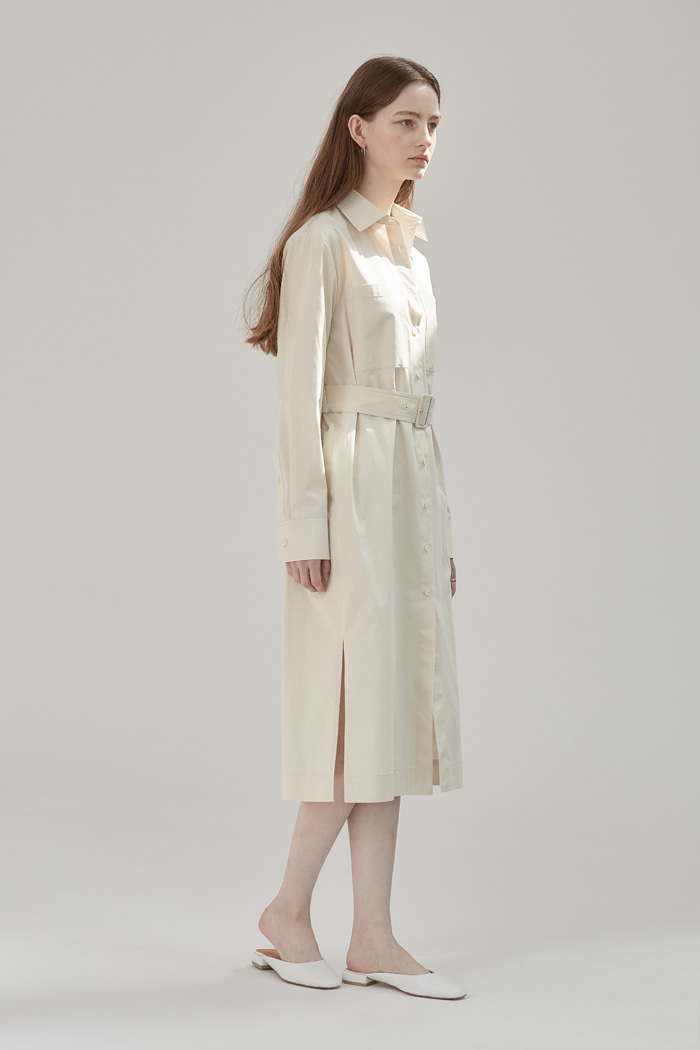 BELTED LONG SHIRT DRESS - BEIGE
