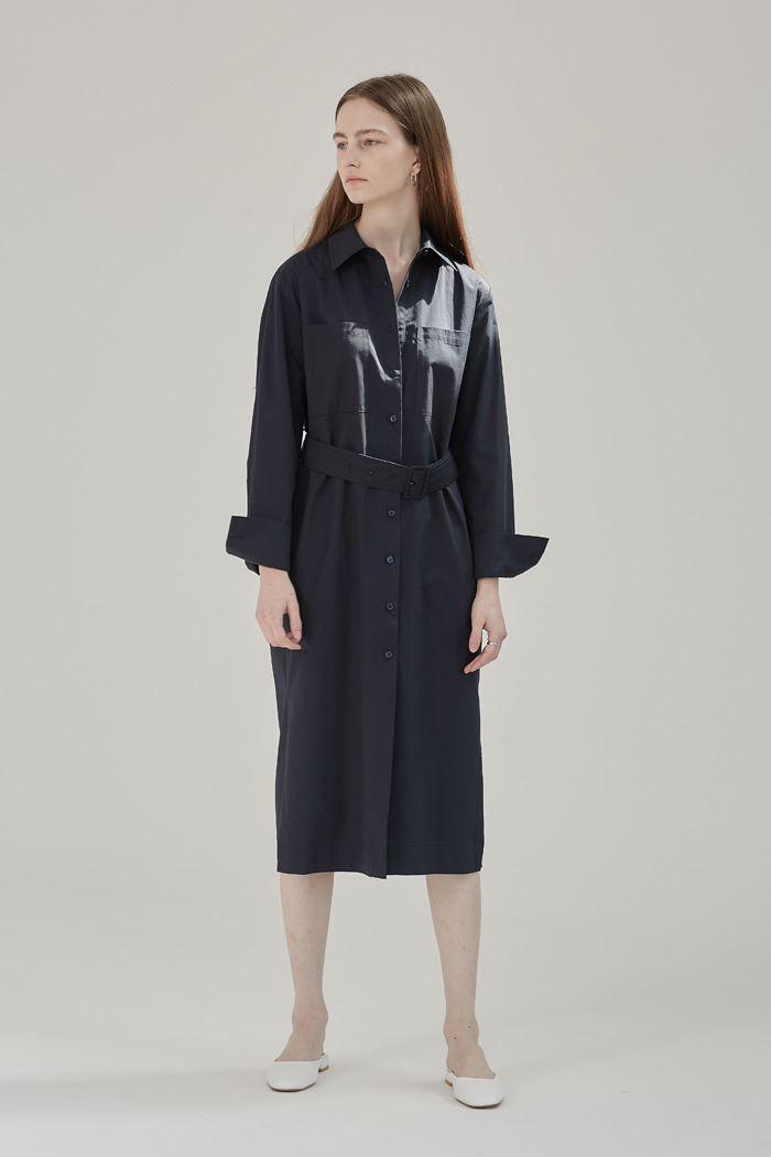 BELTED LONG SHIRT DRESS - NAVY