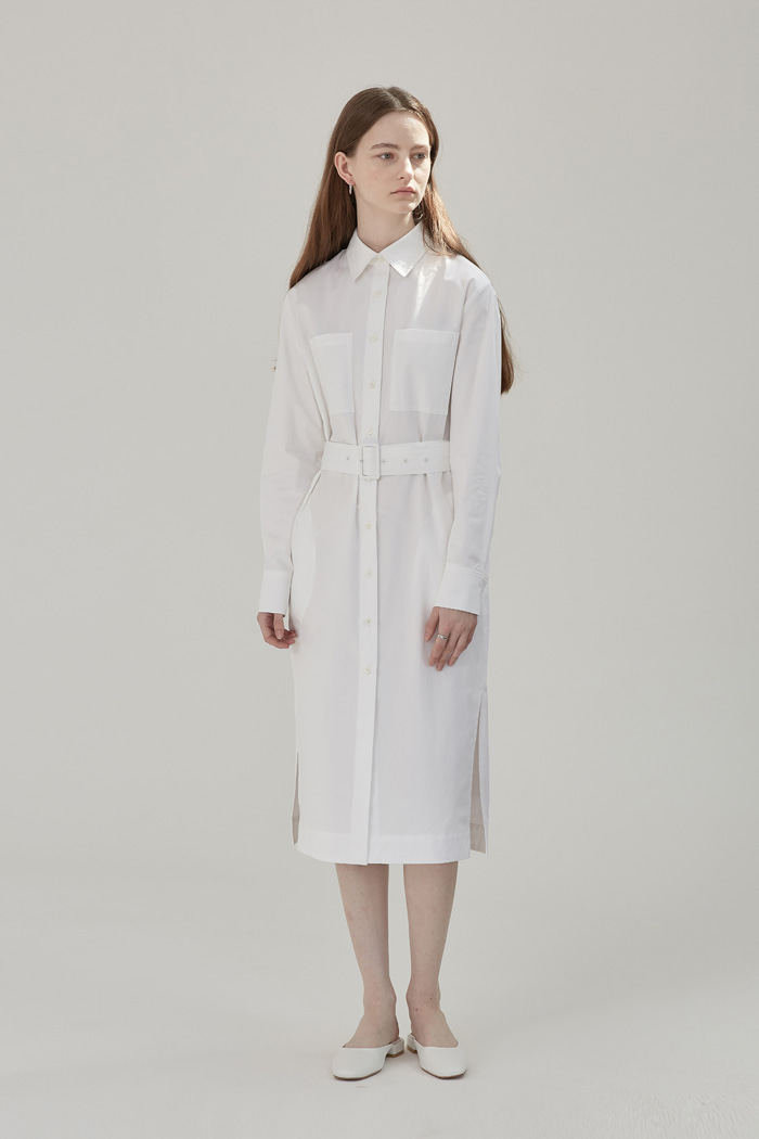 BELTED LONG SHIRT DRESS - WHITE
