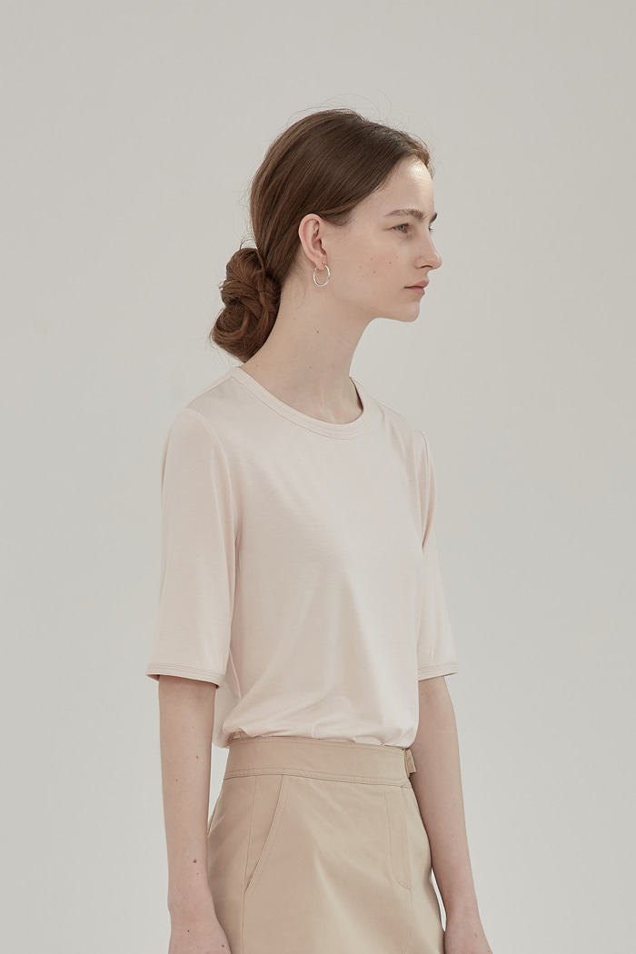 LAYERED ROUND-NECK TOP -  PEACH