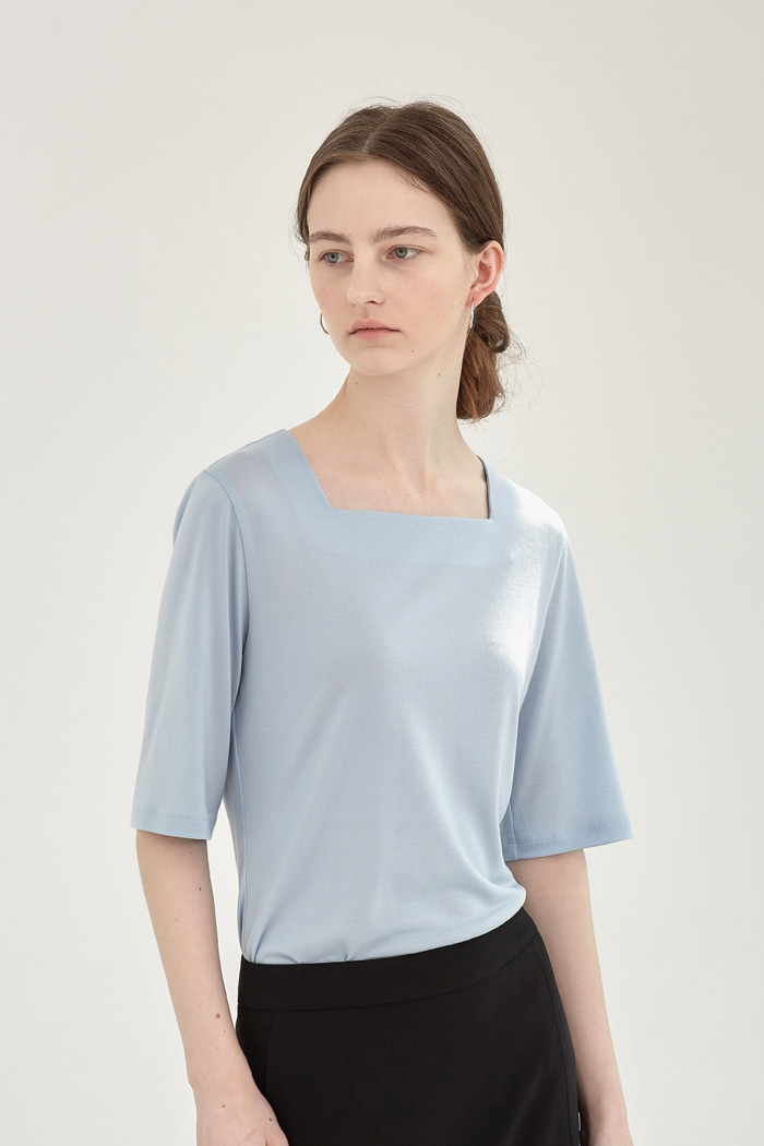 TENCEL SQUARE-NECK  TOP - SKY BLUE