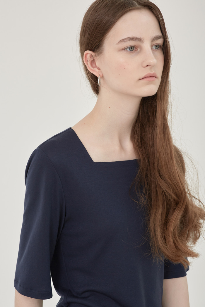 TENCEL SQUARE-NECK  TOP - NAVY