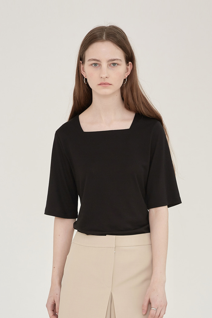 TENCEL SQUARE-NECK  TOP - BLACK