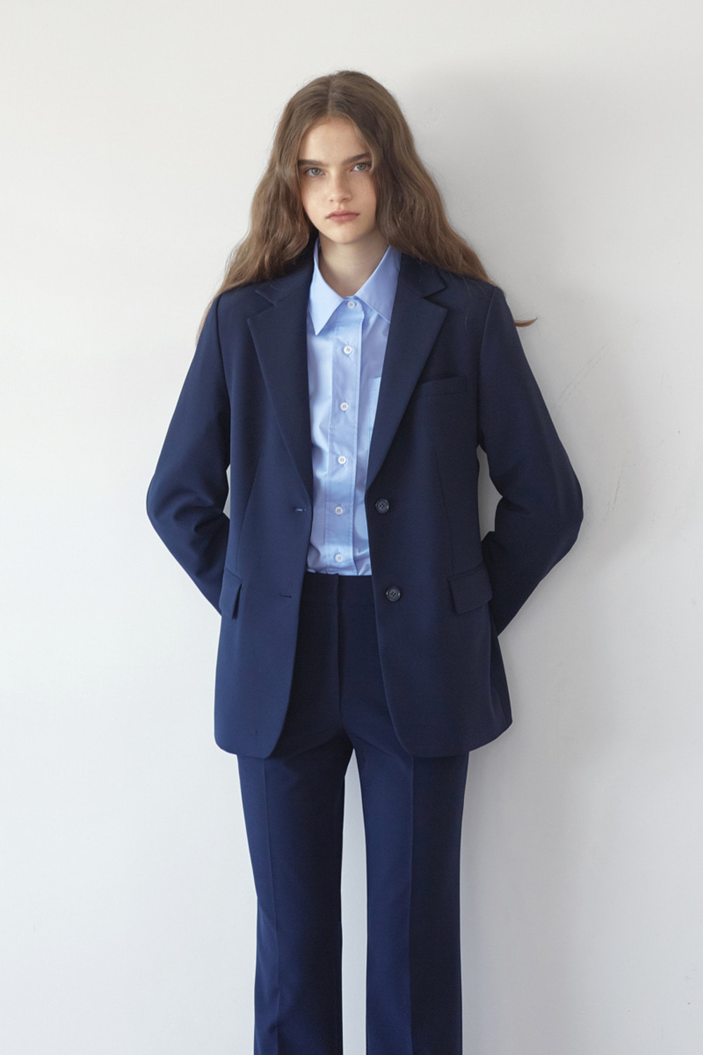 FLUID TAILORED JACKET - NAVY