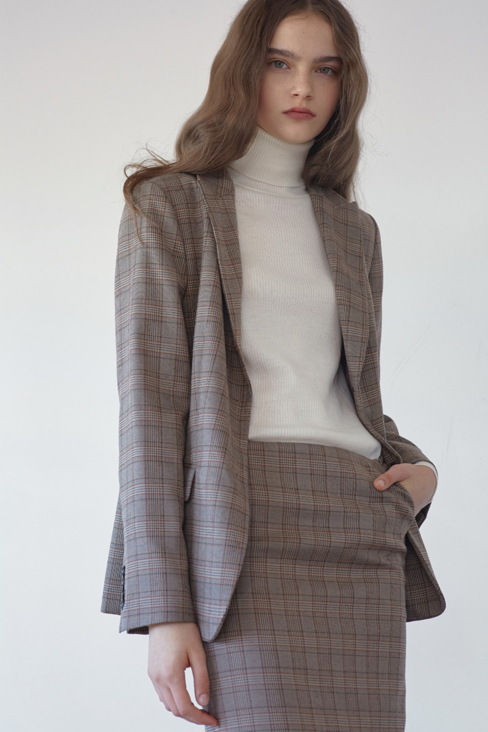 TAILORED CHECK JACKET - BROWN