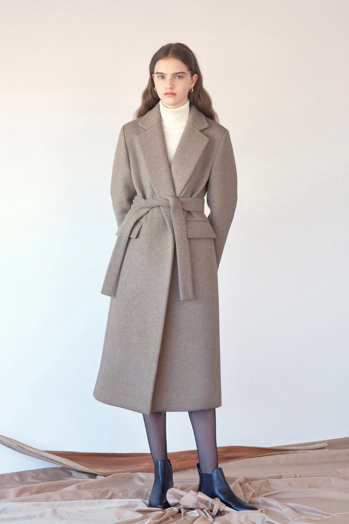 BELTED LONG COAT - BROWN