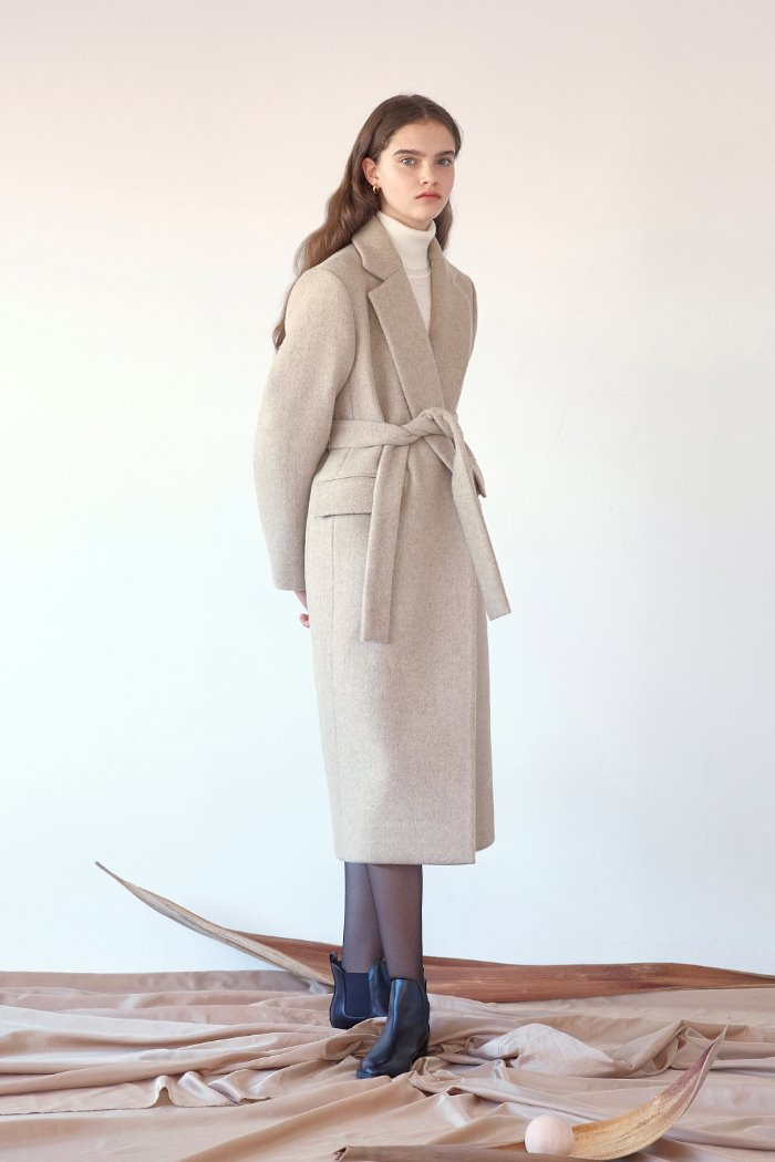 BELTED LONG COAT - OATMEAL