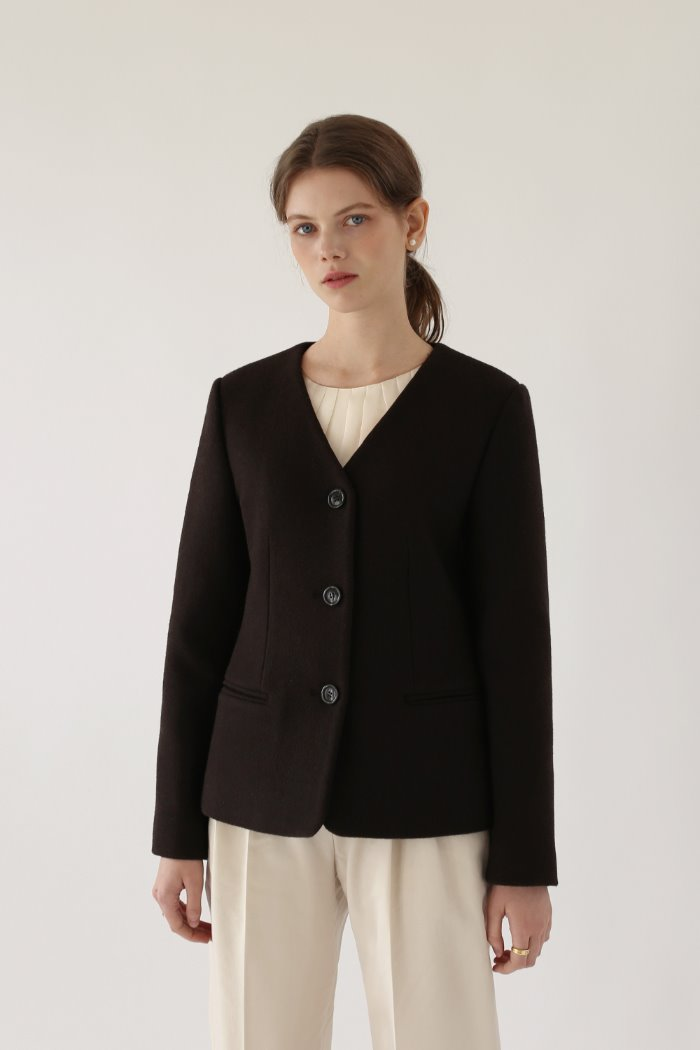 COLLARLESS JACKET - BROWN