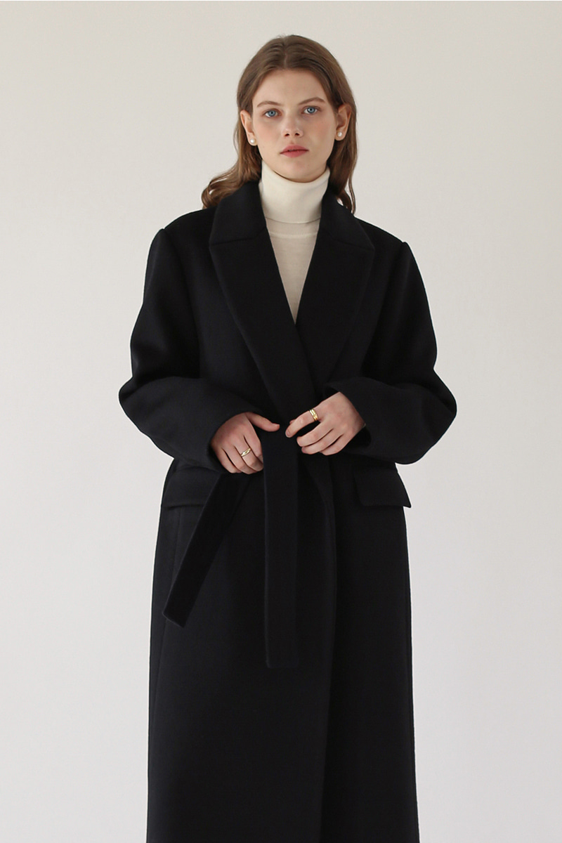 [기간한정 -25%]CLASSIC BELTED LONG COAT - BLACK