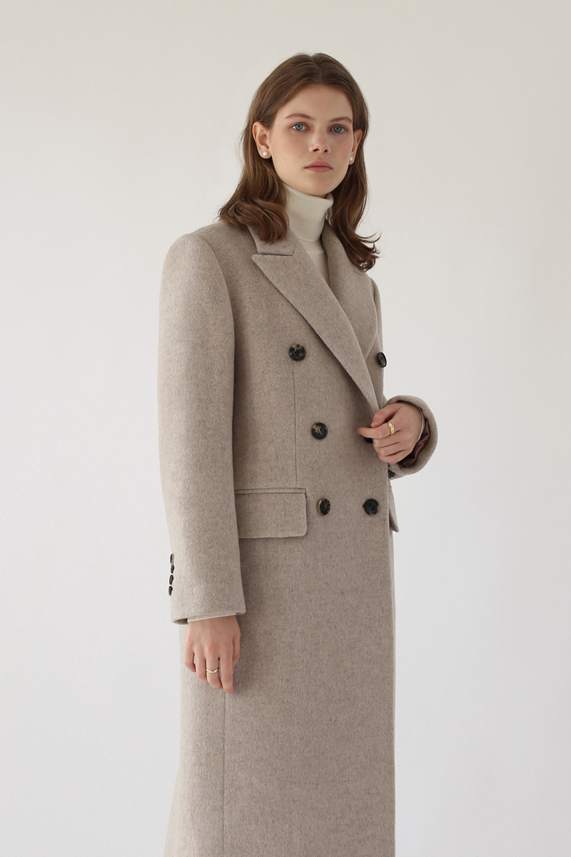 [기간한정-25%]DOUBLE-BREASTED WOOL COAT ( OATMEAL )