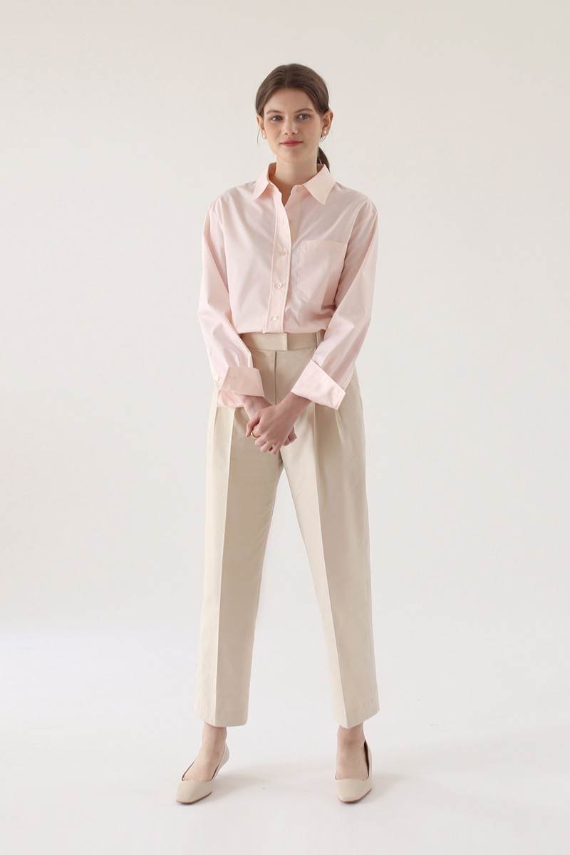 PLEATED COTTON TROUSERS - CREAM