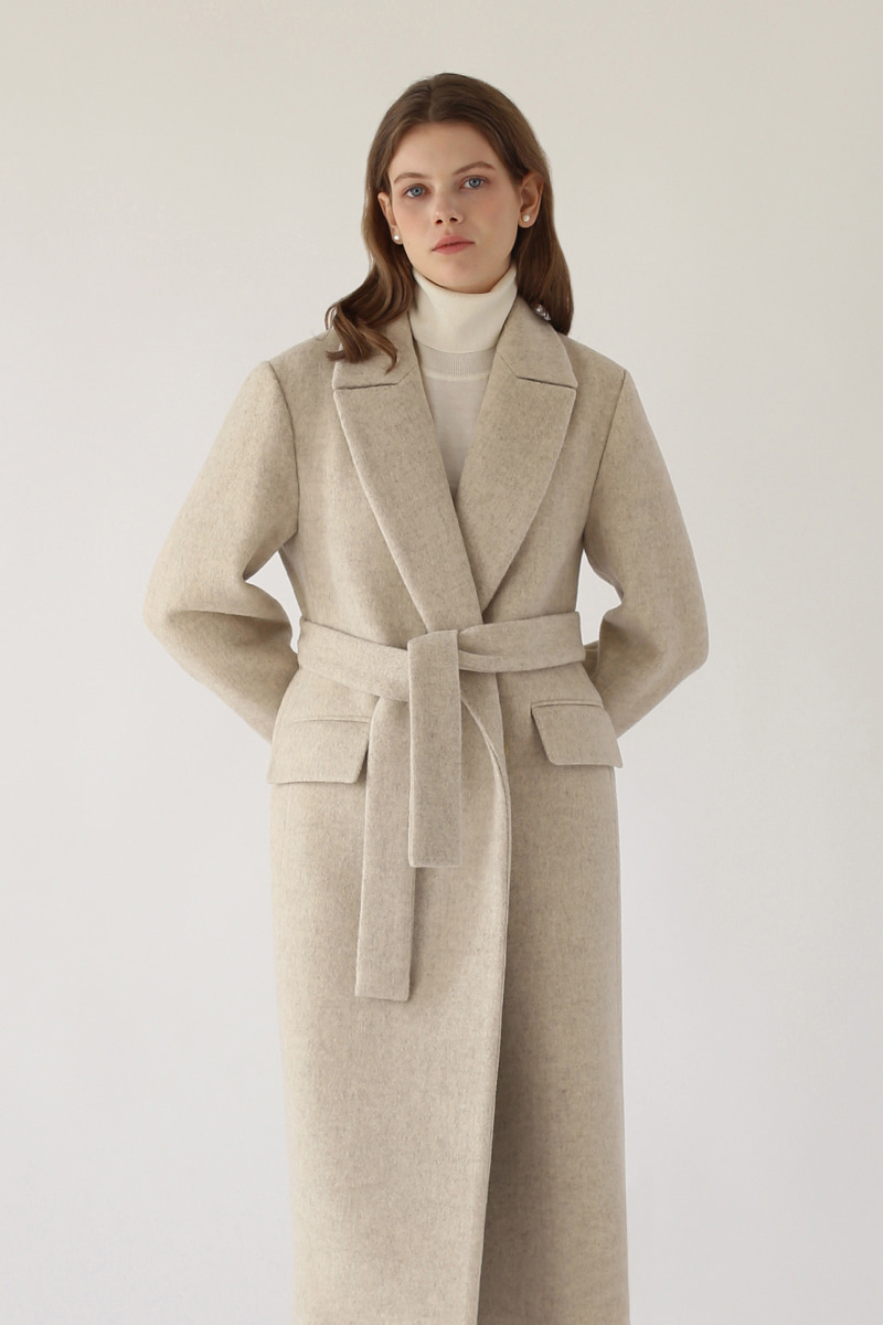 CLASSIC BELTED LONG COAT - OATMEAL