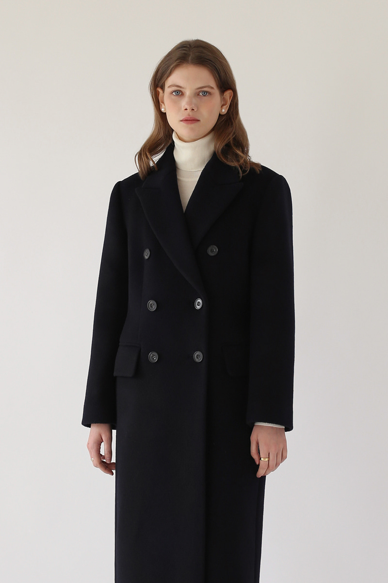 [기간한정-25%]DOUBLE-BREASTED WOOL COAT ( BLACK )