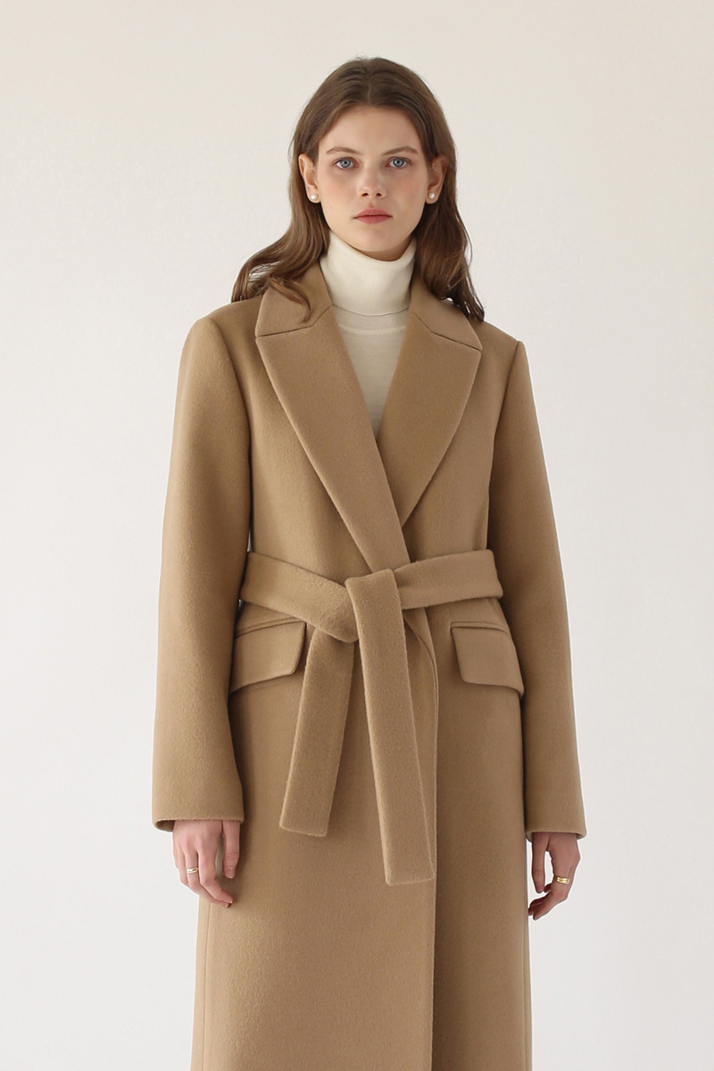 CLASSIC BELTED LONG COAT - CAMEL