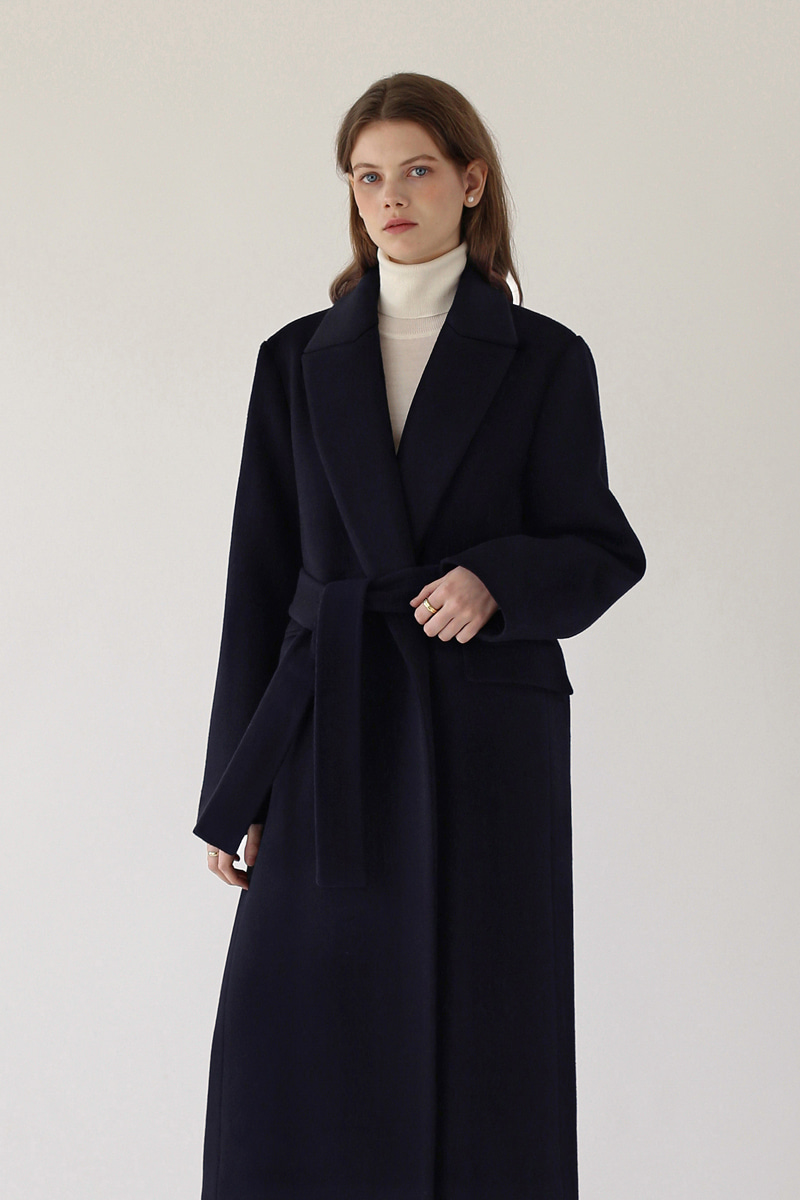 [기간한정 -25%]CLASSIC BELTED LONG COAT - NAVY