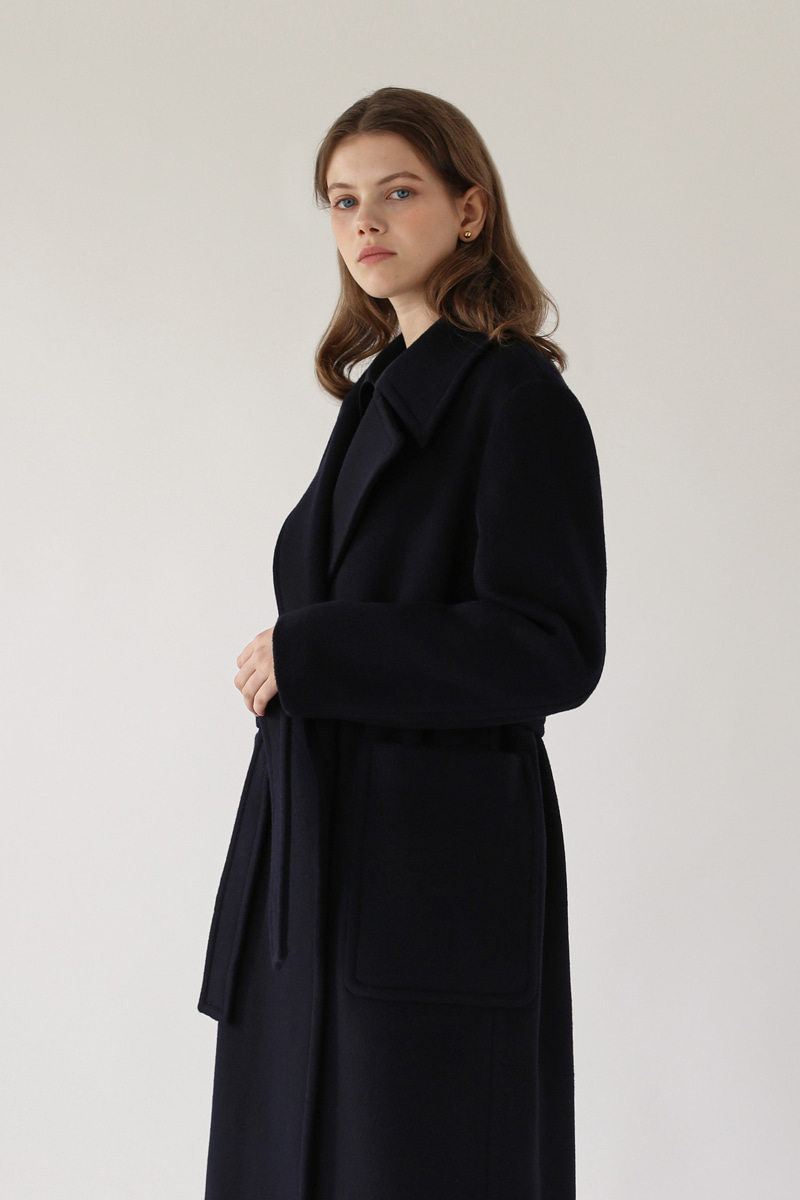[-45%]WIDE LAPEL COAT - NAVY