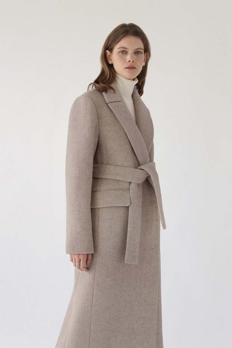 CLASSIC BELTED LONG COAT - MILK BROWN