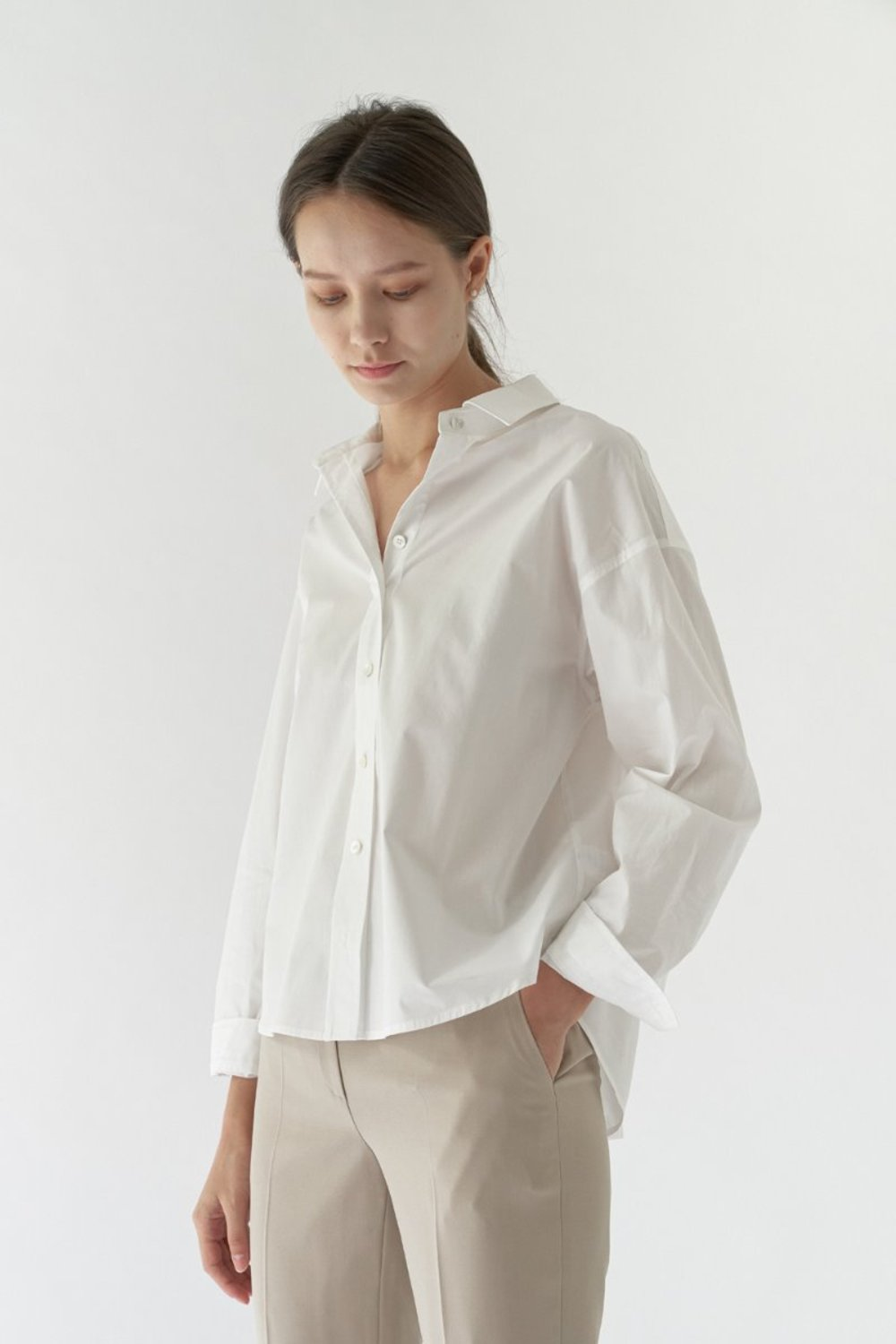 PLAIN COTTON SHIRT - WHITE