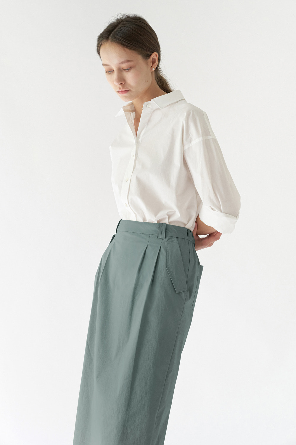 BANDING LONG SKIRT - RIVER GREEN