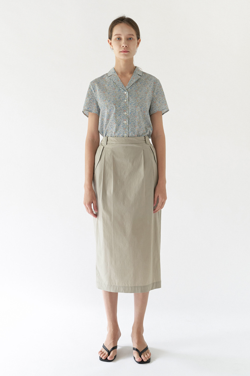 BANDING LONG SKIRT - SAND BEIGE