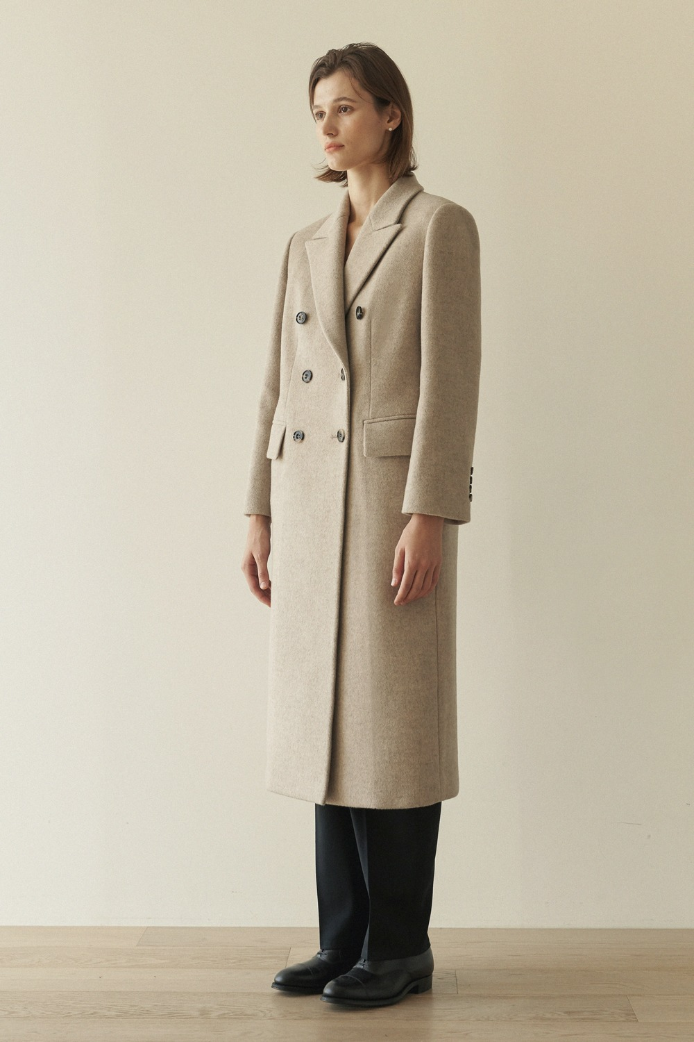 [-20% ]DOUBLE BREASTED CASHMERE COAT - OATMEAL