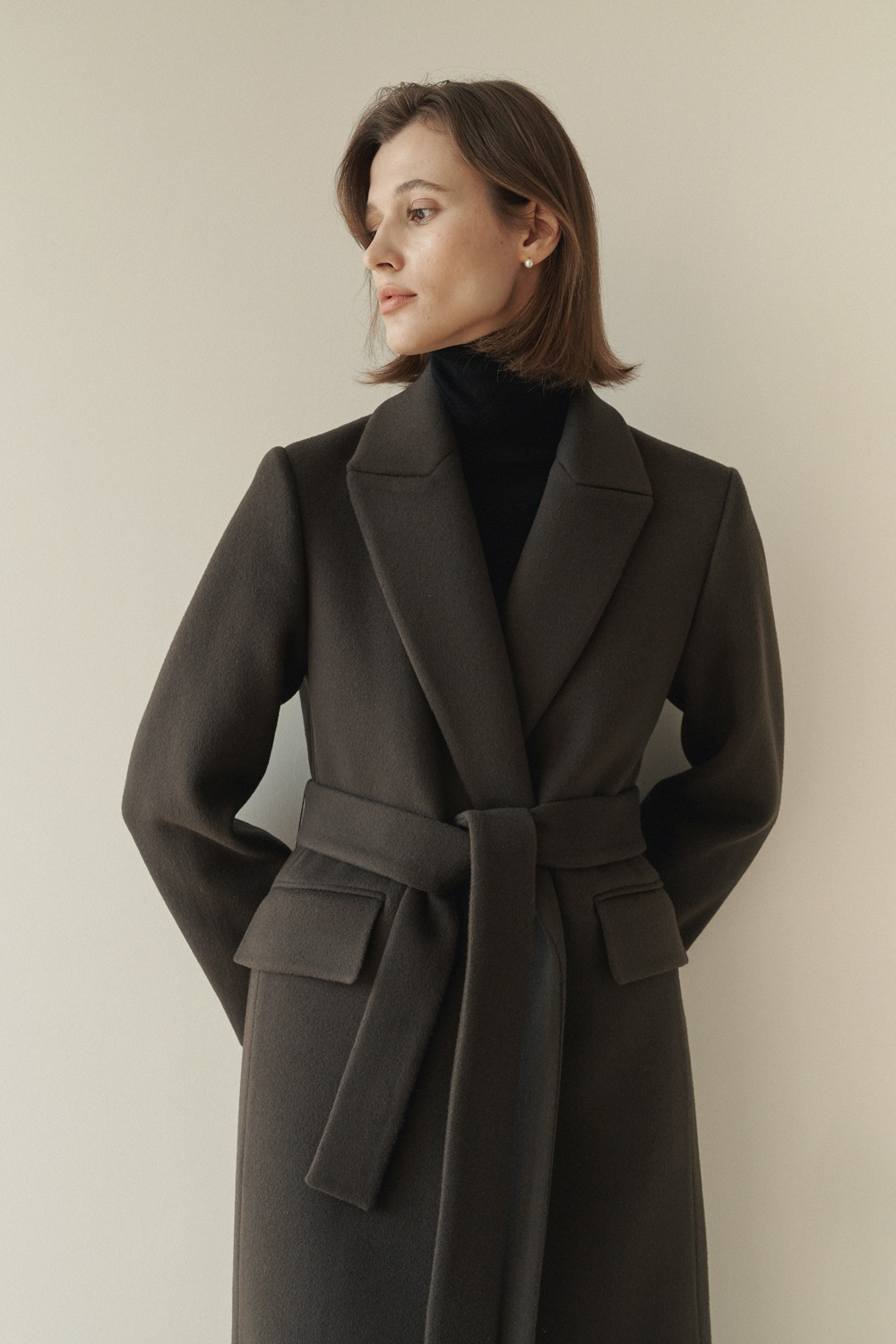 [ -10% ]CLASSIC BELTED WOOL COAT - ASH BROWN