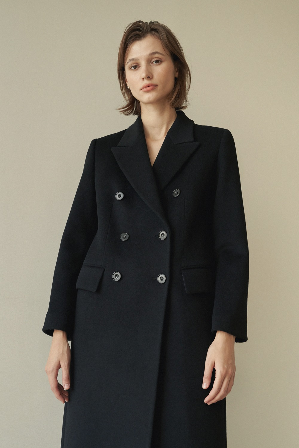 [-10% ]DOUBLE BREASTED CASHMERE COAT - BLACK
