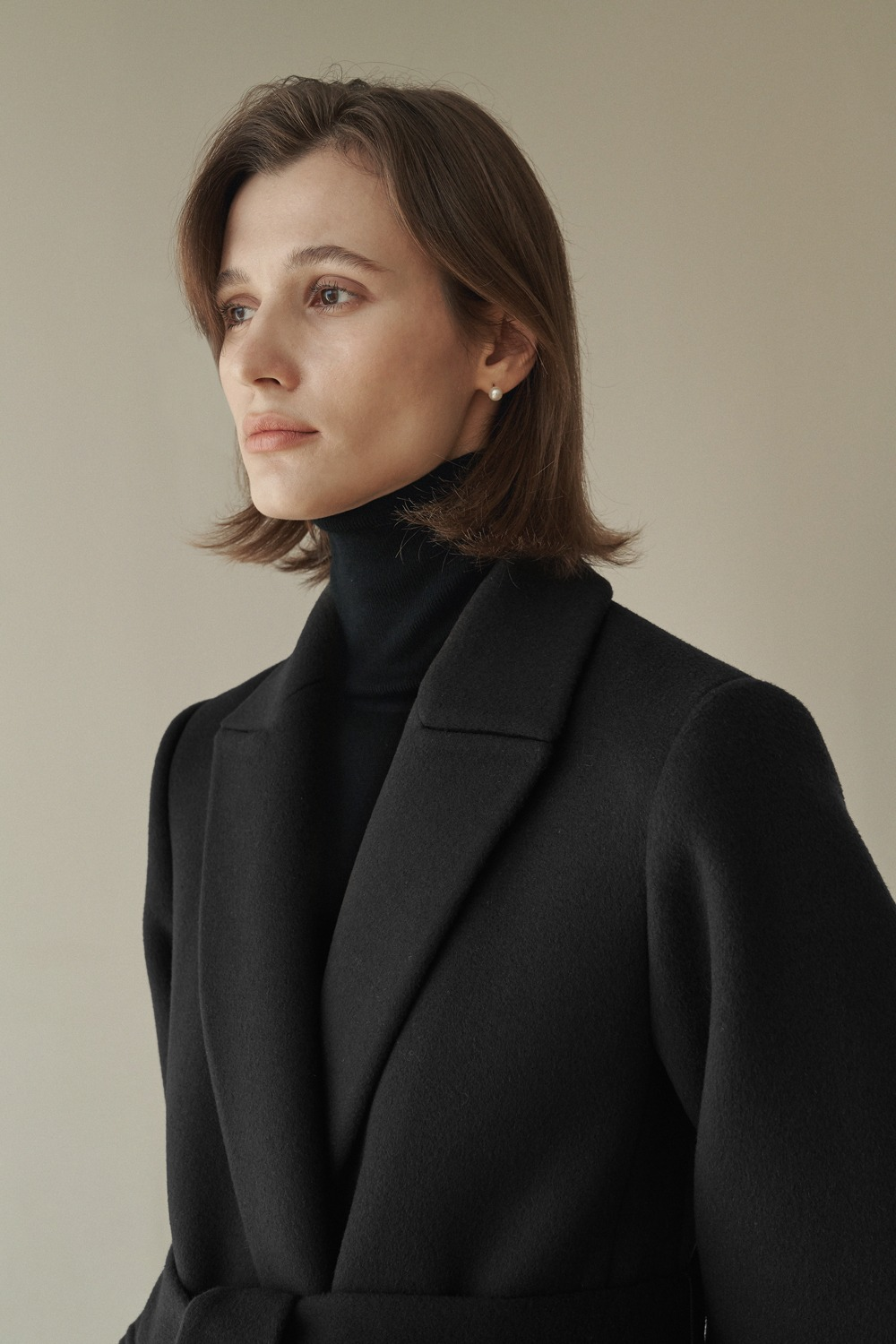 [-10% ]CLASSIC BELTED WOOL COAT - BLACK
