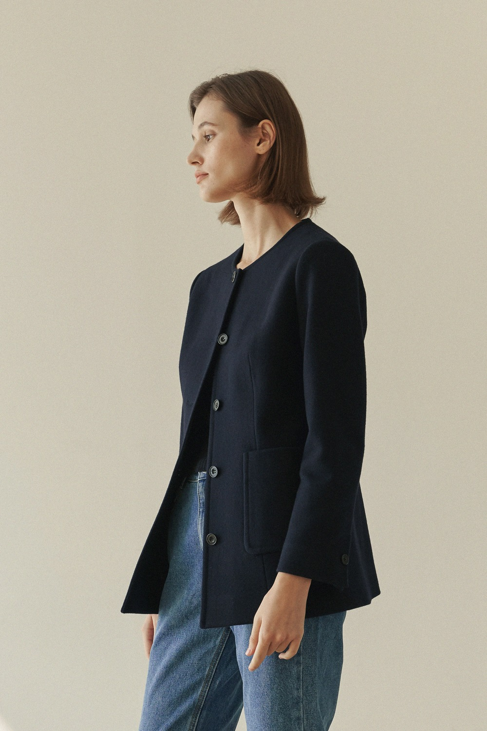 [-10% ]COLLARLESS LAUREN JACKET - NAVY